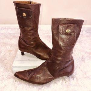 COACH Leather MONIQUE Kitten Ankle Boot W/Pocket